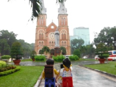 Outside the Saigon Notre‑Dame Basilica