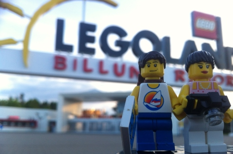 Posing for a picture outside the main entrance to LEGOLAND!