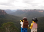 Getting a closer look through the binoculars at Govett's Leap
