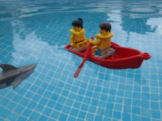 Went out for a little row in our boat... oh no, shark approaching!
