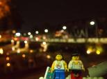 Iron Bridge lit up at night