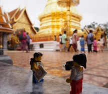 Walking round the temple