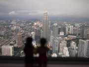 View from the top of KL Menara, overlooking the Twin Towers