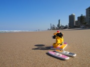 Sitting on the beach, after arriving in Surfers Paradise