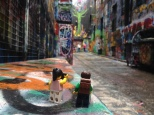 Colourful street art at Hosier Lane