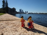 Cycling along the Swan River near the old brewery